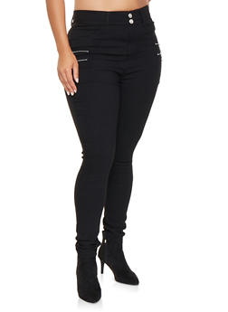 Plus Size Solid Hyperstretch Jeggings - 3874063408412