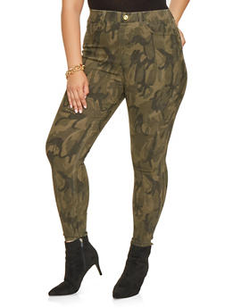 Plus Size Camo Push Up Pants - 3874063408414