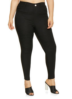 Plus Size Hyperstretch Moto Jeggings - 3874063408415