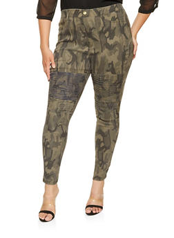 Plus Size Camo Moto Pants - 3874063408416