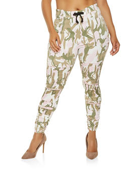 Plus Size Camo Moto Jeggings - 3874063408564