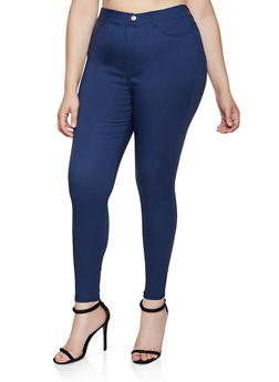 Plus Size Solid Push Up Jeggings | 3874063409430 - 3874063409430