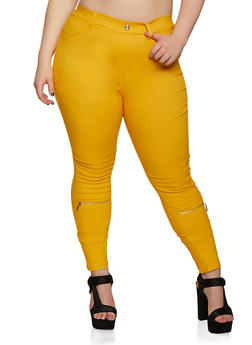 Plus Size Zip Moto Jeggings - 3874063409952