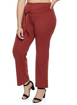 Plus Size Tie Front Textured Knit Pants - 3874074010116