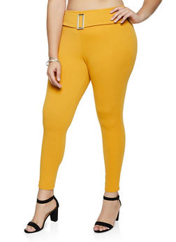 Plus Size Buckle Detail Textured Knit Pants - 3874074010117