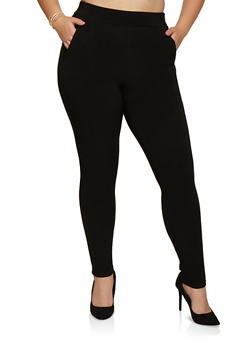 Plus Size Pull On Skinny Scuba Pants - 3874074642330