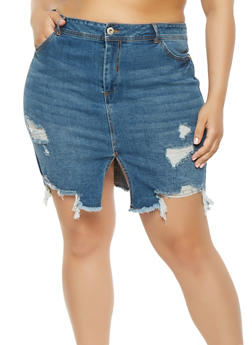 Plus Size Highway Front Slit Denim Skirt - DARK WASH - 3875071313518