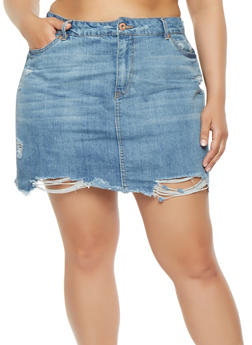 Plus Size Highway Denim Skirt - 3875071313555