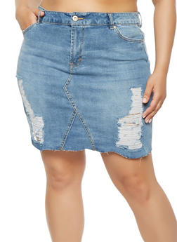 Plus Size Highway Frayed Denim Skirt - 3875071313558