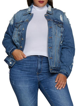 Plus Size Almost Famous Ripped Jean Jacket - 3876015991155