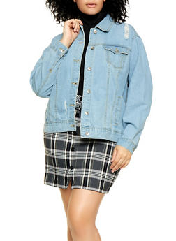 Plus Size Frayed Jean Jacket - 3876051062406