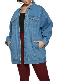 Plus Size Boyfriend Jean Jacket - 3876051066542