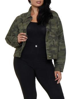 Plus Size Camo Jacket - 3876051067943