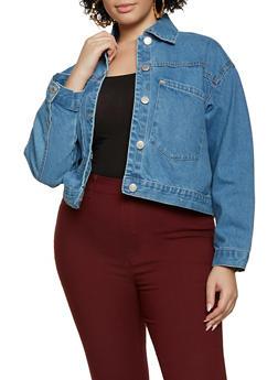 Plus Size Oversized Pocket Jean Jacket - 3876051067946