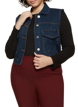 Plus Size Collared Denim Vest - 3876051067947