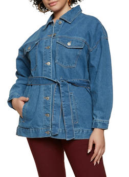 Plus Size Belted Jean Jacket - 3876051067950