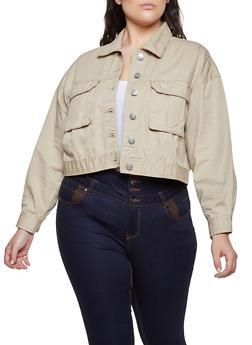 Plus Size Cargo Jean Jacket - 3876051067951