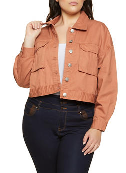 Plus Size Cargo Jean Jacket - 3876051067951