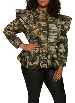 Plus Size Ruffle Shoulder Camo Peplum Jacket - 3876063400703
