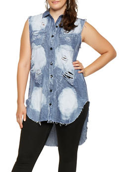 Plus Size Destroyed Denim High Low Shirt - 3876063401266