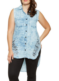 Plus Size Destroyed Denim High Low Shirt - 3876063401338