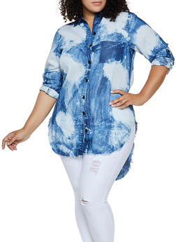 Plus Size High Low Acid Wash Denim Shirt - 3876063401400