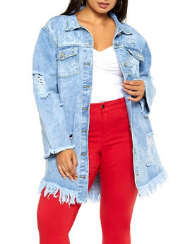 Plus Size Slashed Long Denim Jacket - 3876063401663
