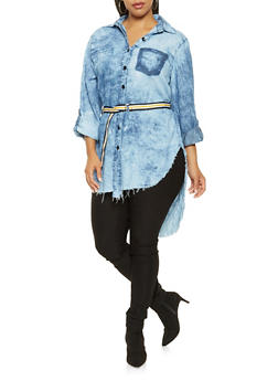Plus Size Belted High Low Chambray Shirt - 3876063402999