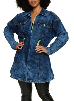Plus Size Acid Wash Contrast Zip Jean Jacket - 3876063403061