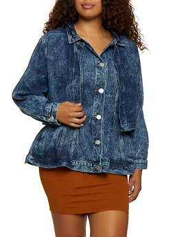 Plus Size Layered Jean Jacket - 3876063403302
