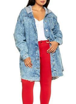 Plus Size Hooded Long Denim Jacket - 3876063403338