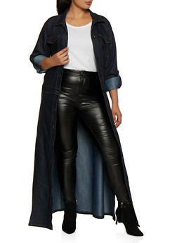 Plus Size Button Front Denim Duster - 3876063403431