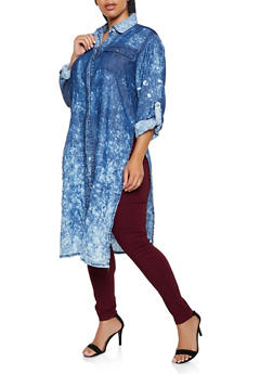 Plus Size Button Front Chambray Duster - 3876063403535