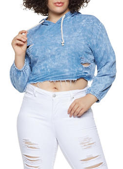 Plus Size Cropped Chambray Hoodie - 3876063405168