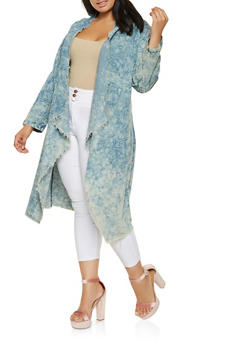 Plus Size Drape Front Denim Duster - 3876063405894