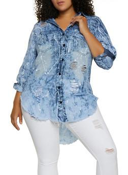 Plus Size Paint Splatter Chambray Shirt - 3876063405899