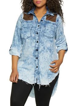 Plus Size Fishnet Insert High Low Shirt - 3876063406060