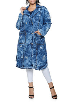 Plus Size Acid Wash Frayed Denim Trench Coat - 3876063406178