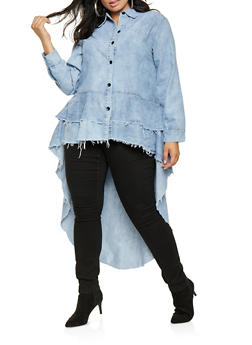 Plus Size Denim High Low Shirt - 3876063406722