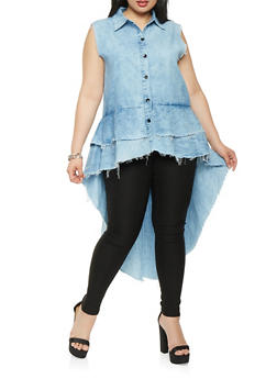 Plus Size Tiered High Low Chambray Shirt - 3876063406724