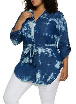 Plus Size Bleached Tie Waist Tunic Shirt - 3876063406915