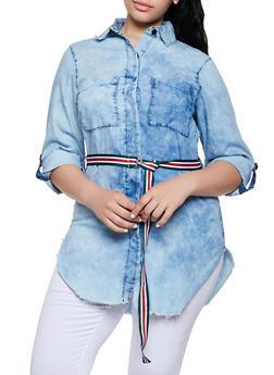 Plus Size Stripe Belted Denim Shirt - 3876063406923