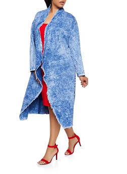 Plus Size Acid Wash Chambray Duster - 3876063407575