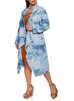 Plus Size Frayed Flyaway Chambray Duster - 3876063407592