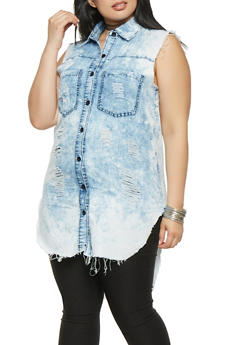 Plus Size Distressed Denim Shirt - 3876063407639