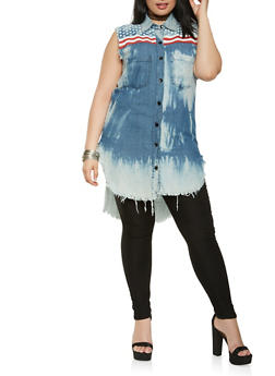 Plus Size Americana Distressed Chambray Shirt - 3876063407811