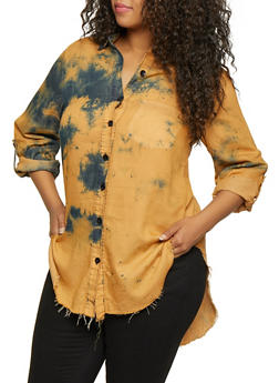 Plus Size Tie Dye High Low Shirt - 3876063408080