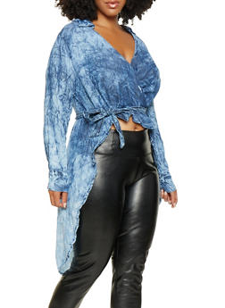 Plus Size Chambray Faux Wrap High Low Top - 3876063408500