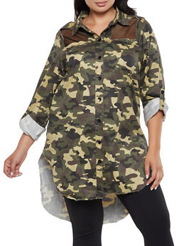 Plus Size Fishnet Insert Camo Denim Top - 3876063408787