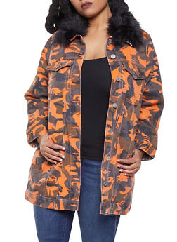Plus Size Long Camo Denim Jacket - 3876063408942